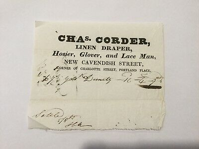 1823 - Chas. Corder, Linen Draper, Hosier, Glover, and Lace Man.