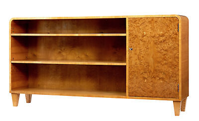 20Th Century Scandinavian Burr Elm Low Open Bookcase
