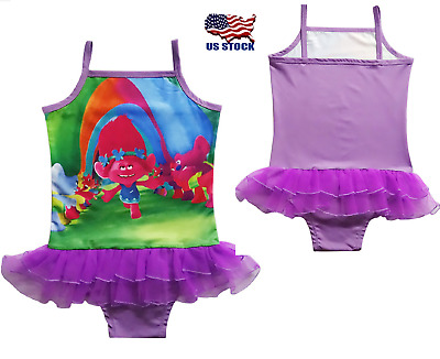 2018 new Girls Trolls Swimsuit Princess Swimming Bathing Suit Swimwear cute K93