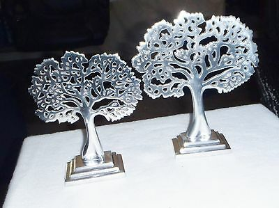Unique'new Bali'tree Of Life,jewelry Stand,aluminium Silver, Set Of 2