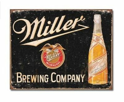 Miller Beer Brewing Company Vtg Metal Ad Sign Bottle Game Cave Bar Picture Gift
