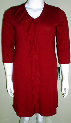3a3a478999f Lennie Nina Leonard NWT Size L Ruby Red 3 4 Sleeve Acrylic Sweater Dress  2080