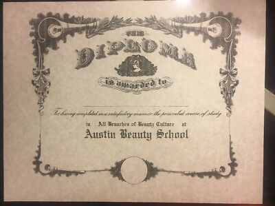 """Beauty School College Diploma, Comes Blank Fill In Your Own Info. 81/2"""" X 11"""""""
