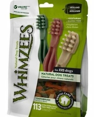 Whimzees Toothbrush Extra Extra Small 113 Pack - Vegetarian Gluten Free Dog Chew