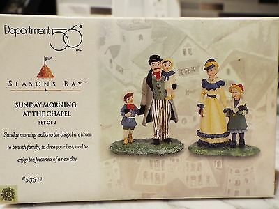 """Dept 56 """"SUNDAY MORNING AT THE CHAPEL"""" Season's Bay Accessories Set of 2 #53311"""