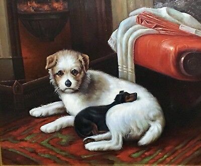 """Steve Rogers 20th Century Oil on Canvas Painting of """"Two Dogs Cuddling"""" Framed"""
