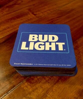"BUD LIGHT BEER SQUARE COASTERS You Receive  ""20"" Coasters Free Shipping 🌴🌴🌴"