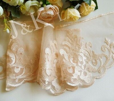 15.5 cm width Pretty Peach Embroidery mesh Lace Trim