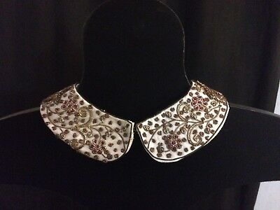 Antique White Silk Collar Sequins Gold Silver & Copper Sewn Thread Ruby Beads