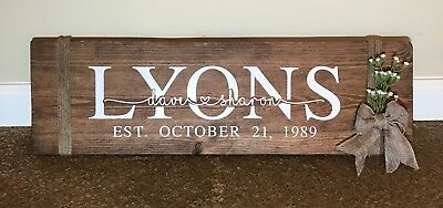 Handmade Personalized Wood Last Name Sign For Rustic Wedding Or Anniversary Gift