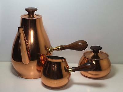 Signed Mid century modern copper and teak tea/coffee set made in Italy