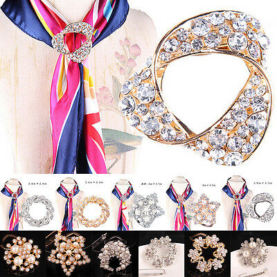 Women Scarf Buckle Ring Clip Holder Crystal Flower Silk Scarves JewelryBroochH&T