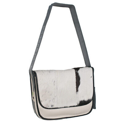 Messengerbag L PROVOKED LEATHER cream COW black Kuhfelltasche Leder