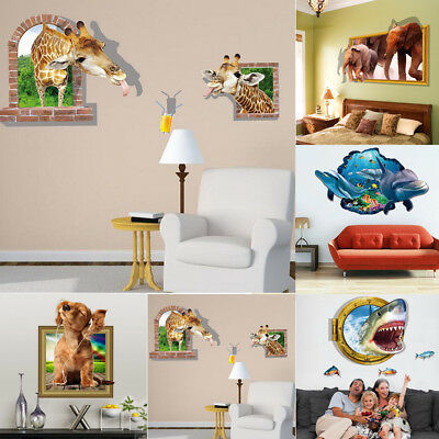 3D Ocean Animals Break Wallpaper Sticker Vinyl Mural Decor Room DIY Art Decor