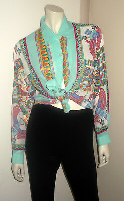 Funky Vintage 90s Shirt Top Blouse Egyptian Motif Aqua Green Blue Long Sleeve