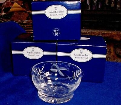 Six Royal Doulton Crystal Sundae Glasses, New and Boxed, Chloe Pattern