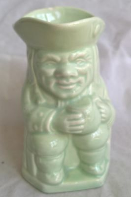 """Vintage PPC Green ceramic Toby Jug  Approx height: 10cm (4"""")"""