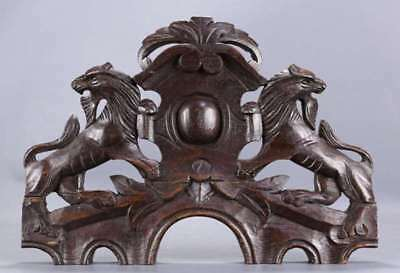 pediment antique architectural salvaged hand carved  wood pediment lion scene