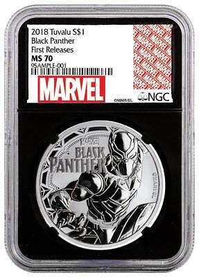 2018 Tuvalu Marvel Series Black Panther NGC MS70 FR 1 oz .999 Silver Coin