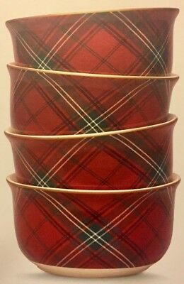 TARTAN PLAID By WILLIAMS SONOMA Set Of 4 Cereal SOUP BOWLS Red Green NEW IN BOX