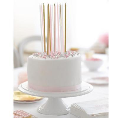Talking Tables We Heart Pink Gold White Long Girls Birthday Party Cake Candles