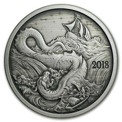 2018 Silverbug Island Collection The Leviathan 1 oz .999 Silver Antiqued Round
