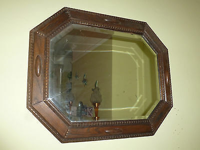Early 20th Century Arts & Crafts Oak Framed Bevelled Mirror