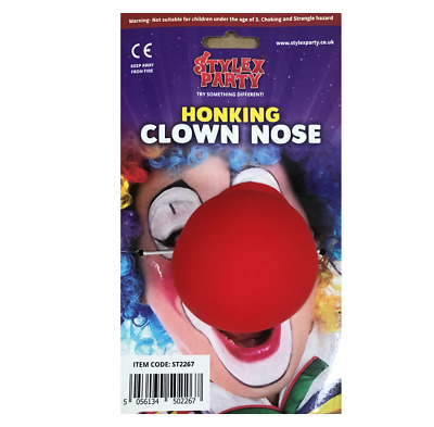 Red Nose Day Honking Clown Nose Ce Childrens Kids Fancy Dress Costume Ronald Uk