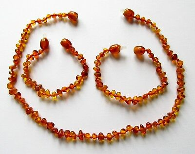 Baltic natural amber necklace or/and bracelet anklet baby to children , cognac