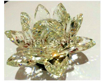Large Clear Crystal Lotus Flower Ornament With Gift Box  Crystocraft Decor_New
