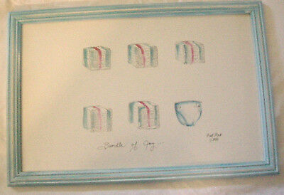 """Nursery Picture, """"Bundle of Joy"""" By Fat Rat, Print, Signed, Brand New"""