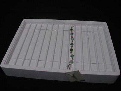 """13"""" White Leatherette Bracelet Necklace Watch Chain Display Tray Stand Pt4-11W"""