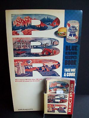 Pabst Blue Ribbon Recipe Book Cardboard Easel Beer Sign NOS  2010