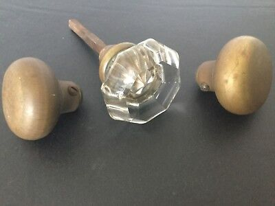 Antique Clear Glass Door Knob W/Spindle Rod & 2 Brass Door Knobs
