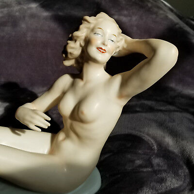 "14"" Vintage Wallendorf Nude Figurine German Porcelain Art Deco"