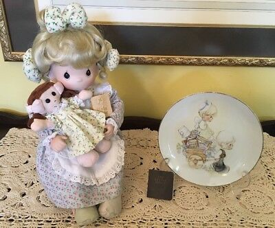 Tell Me The Story Of Jesus ~ Precious Moments Soft Cloth Dolls, Bible & Plate