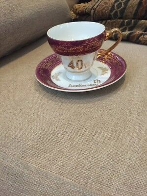 Happy 40th Ruby Anniversary Norcrest Fine China C-522 Tea Cup and Saucer