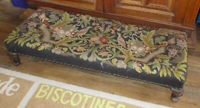 """19th Century 38"""" Wood FOOT STOOL Bedside Step Bench BIRDS Gorgeous NEEDLEPOINT"""