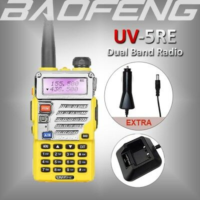 Baofeng UV-5RE Dual Band 136-174/400-520MHz Walkie Talkie Ham Radio +Car Charger