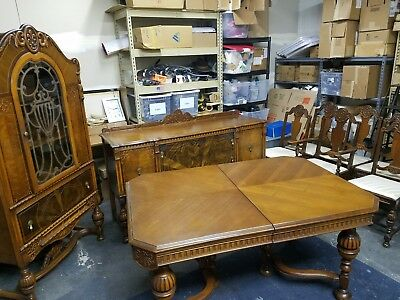 7 Piece Antique 1920s Vintage Solid Wood Dining Room Table & 6 Matching Chairs!