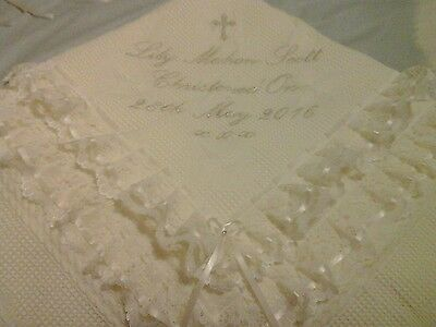 Beautiful IVORY baby christening shawl ***NEW***personalised