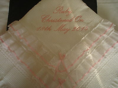 Beautiful WHITE/PINK baby christening shawl ***NEW*** PERSONALISED