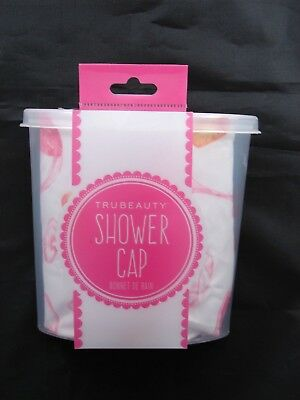 Trubeauty Shower Cap - White / Wine Glasses Corks - Fits All Hair Lengths - NEW