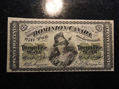 1870 Dominion Of Canada Shinplaster Paper 0.25 Twenty Five Cents Plain