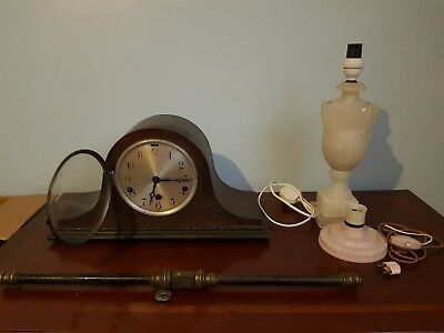 job lot 3x antiques vintage, Incl Forign mantle clock + brass-stone lamp bases.