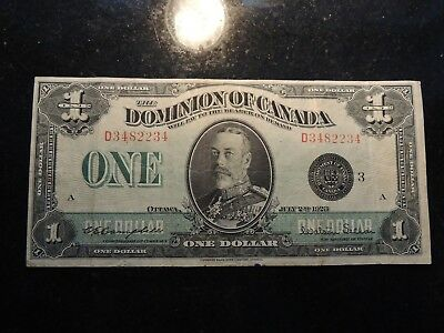 1923 DOMINION OF CANADA $ 1 ONE DOLLAR DC-25n CAMPBELL SELLAR D3482234 BLACK