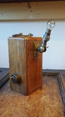 Antique Vintage Hand Table Lamp Torch Battery Operated Steampunk Brass Fittings
