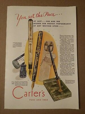 1930 Carter's Pearltex Fountain Pen Ad Ryto Ink