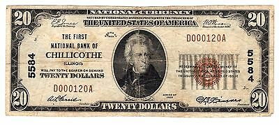 1929 $20 First National Bank of Chillicothe, IL !!
