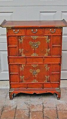 Antique Korean Bandaji Apothecary Chest,Cabinet W/  Brass Batterfly Decoration